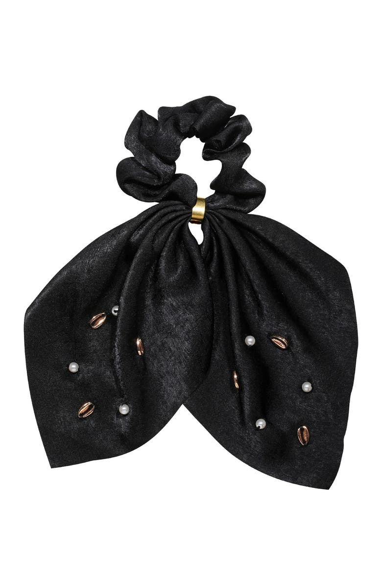 BERRY Bow Shell Scarf Scrunchie, Main, color, BLACK
