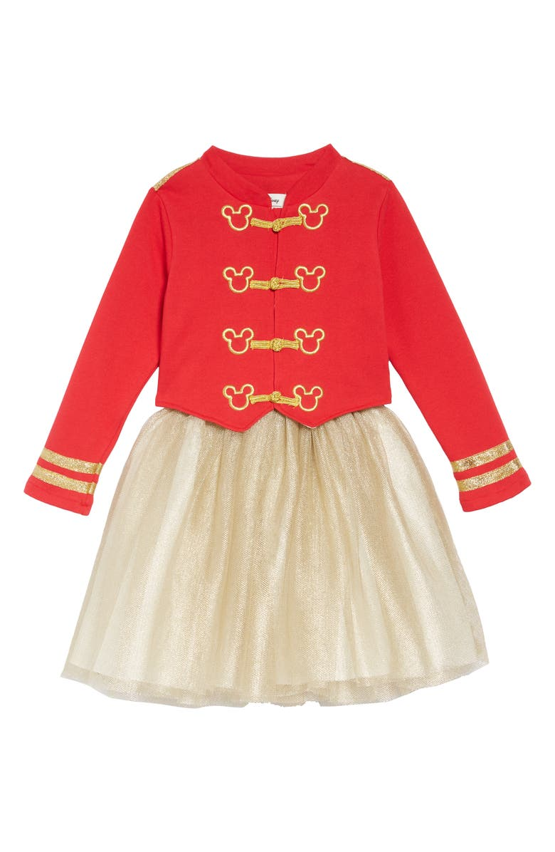 PIPPA & JULIE x Disney<sup>®</sup> Mickey Mouse<sup>®</sup> Majorette Jacket & Tank Dress Set, Main, color, RED/ GOLD
