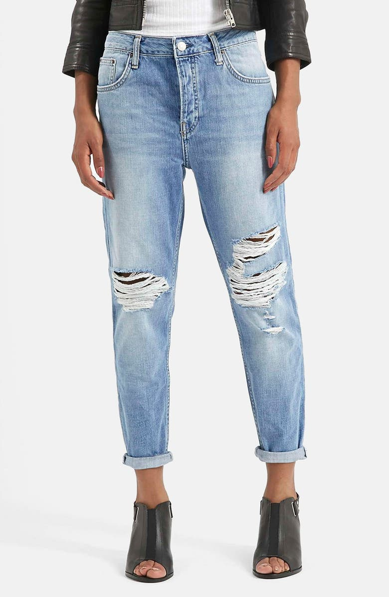 TOPSHOP Moto 'Hayden' Ripped Boyfriend Jeans, Main, color, 400
