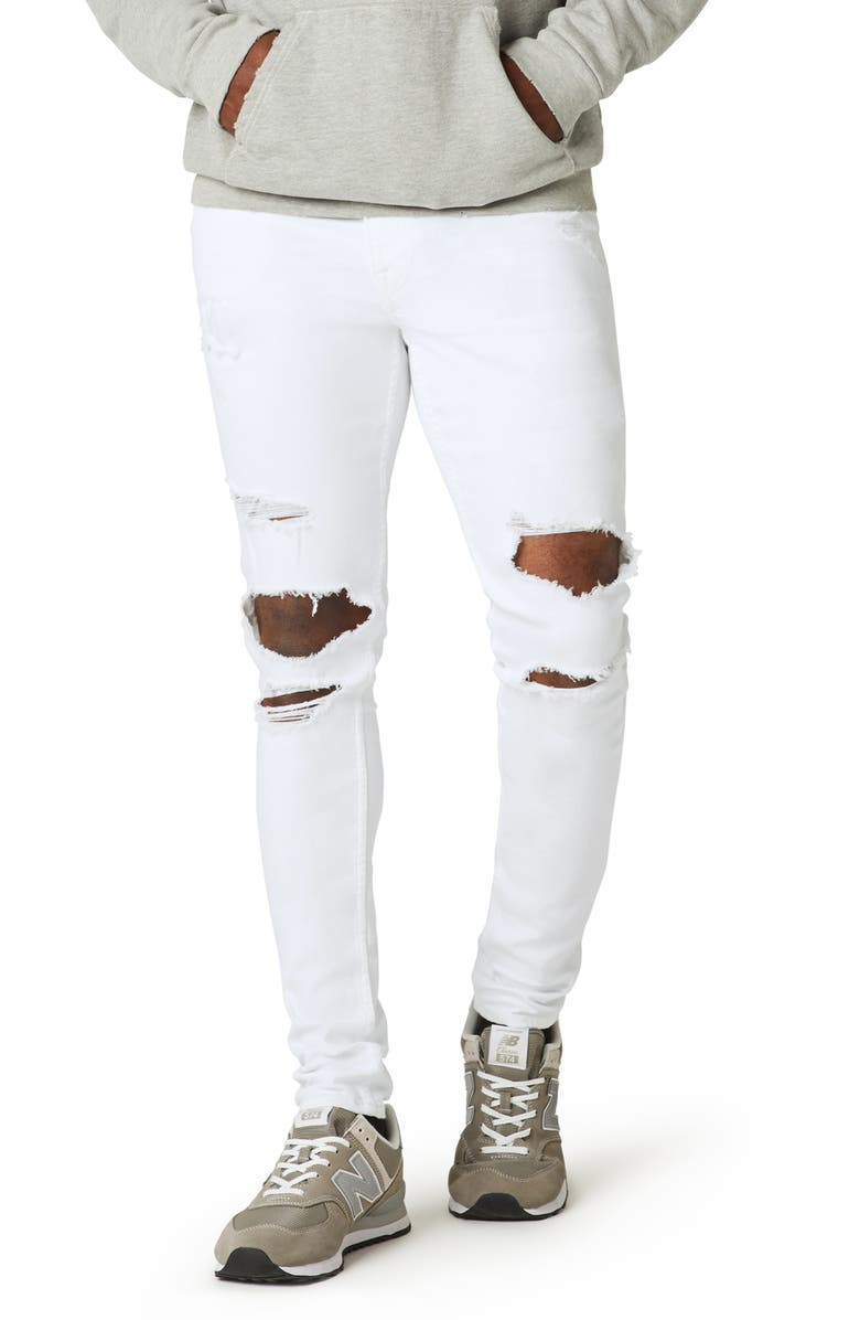 HUDSON JEANS Zack Ripped Skinny Fit Jeans, Main, color, UNKNOWN