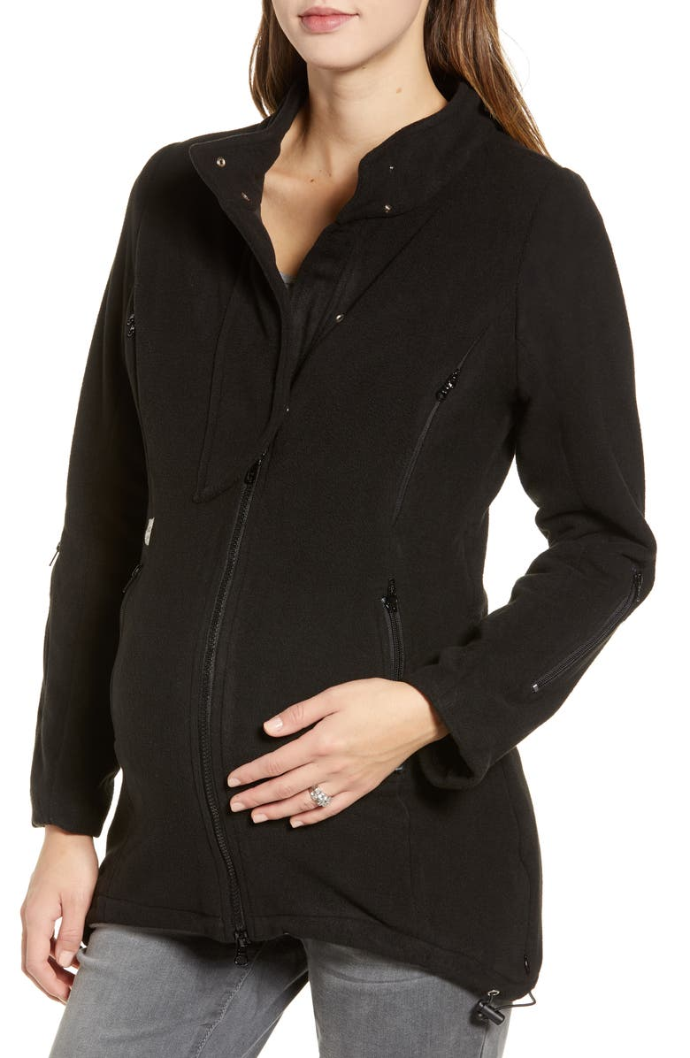 B&ME Booker Maternity Coat, Main, color, BLACK