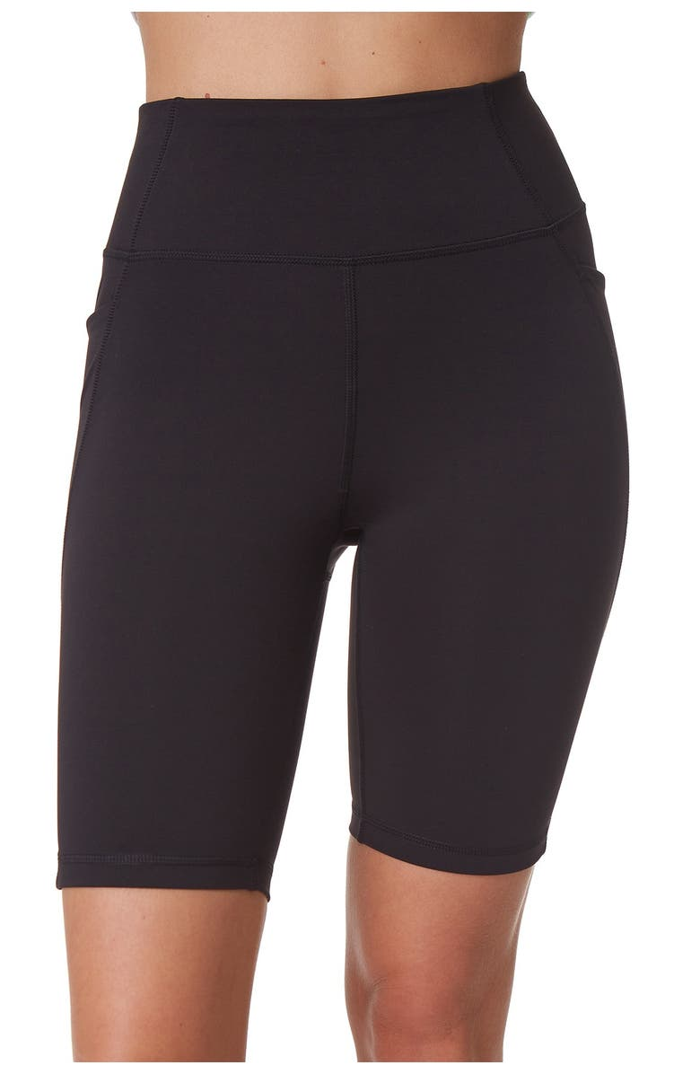 X BY GOTTEX Active High Waisted Biker Shorts, Main, color, BLACK