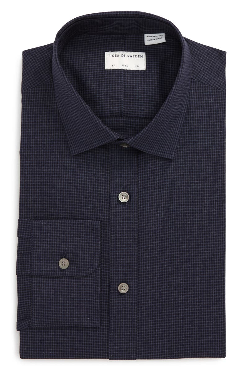 TIGER OF SWEDEN Slim Fit Houndstooth Dress Shirt, Main, color, 430