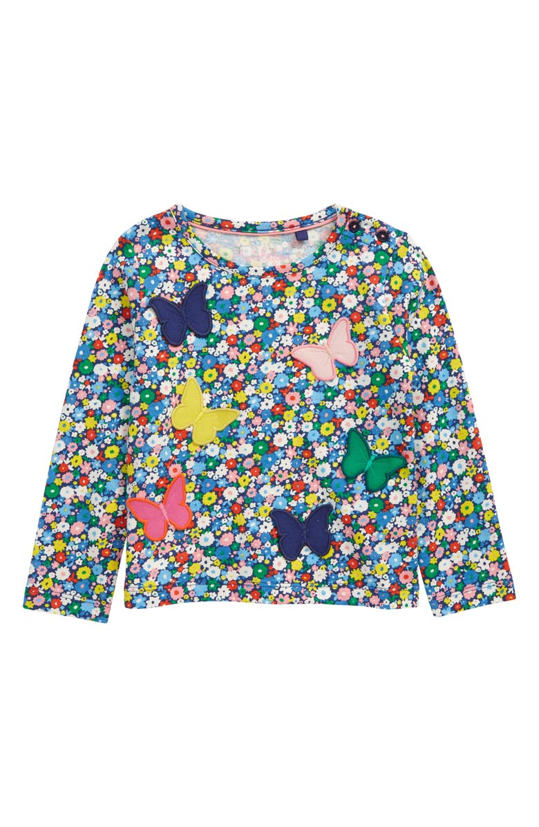 MINI BODEN Kids' Butterfly Appliqué Floral Print Long Sleeve T-Shirt, Main, color, 400