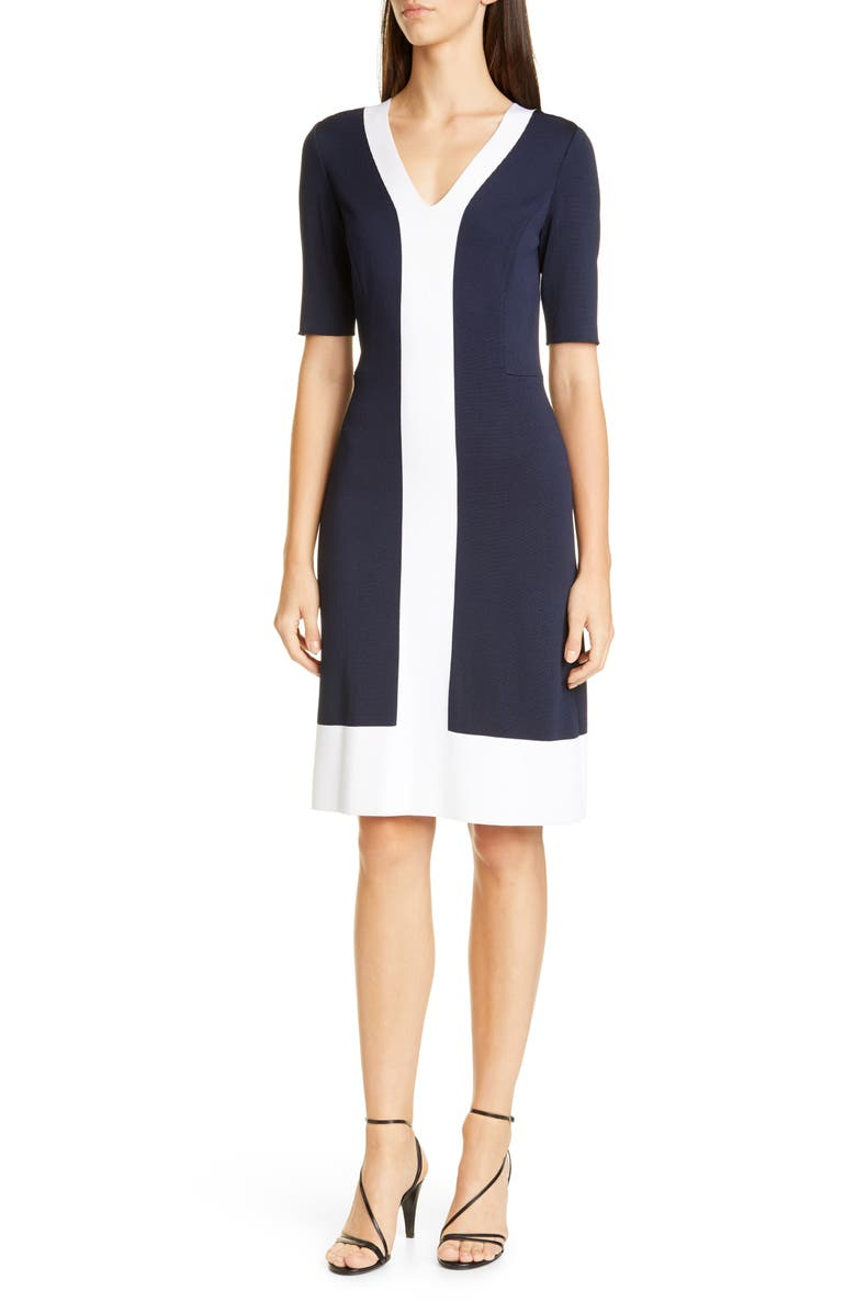 ST. JOHN COLLECTION Colorblock Milano Knit Sheath Dress, Main, color, 410