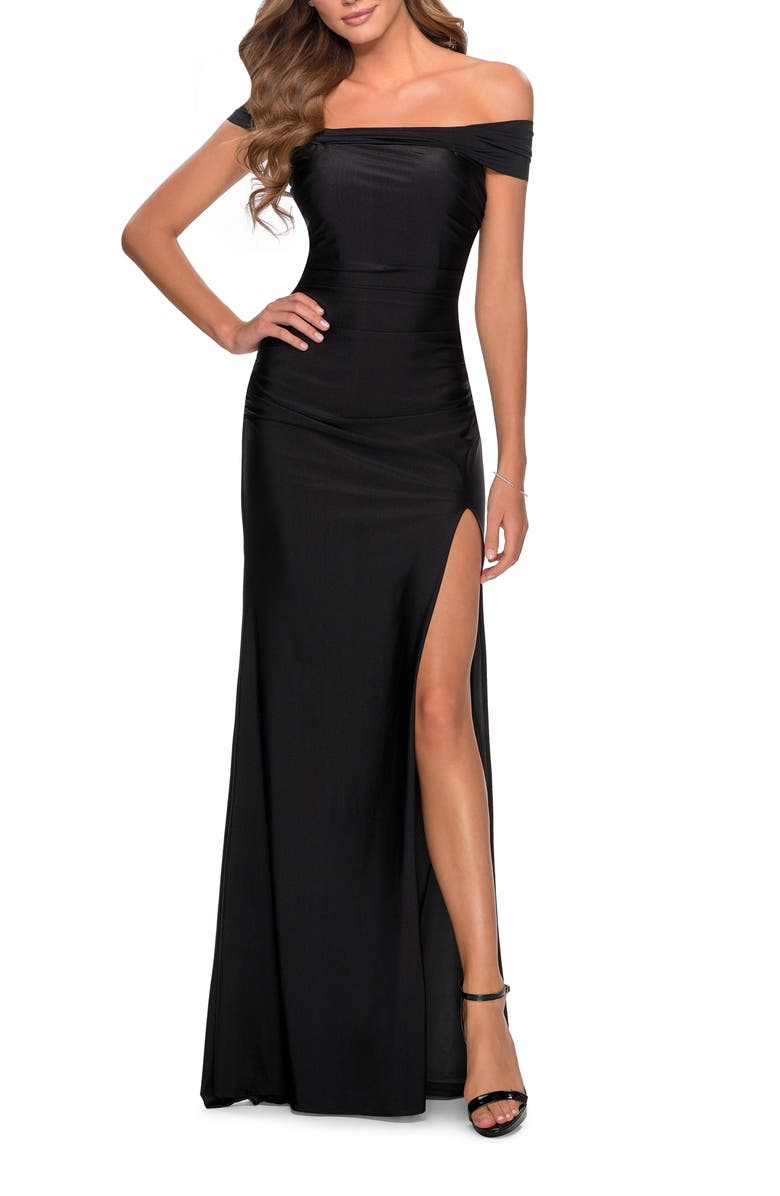 LA FEMME Off the Shoulder Satin Trumpet Gown, Main, color, BLACK