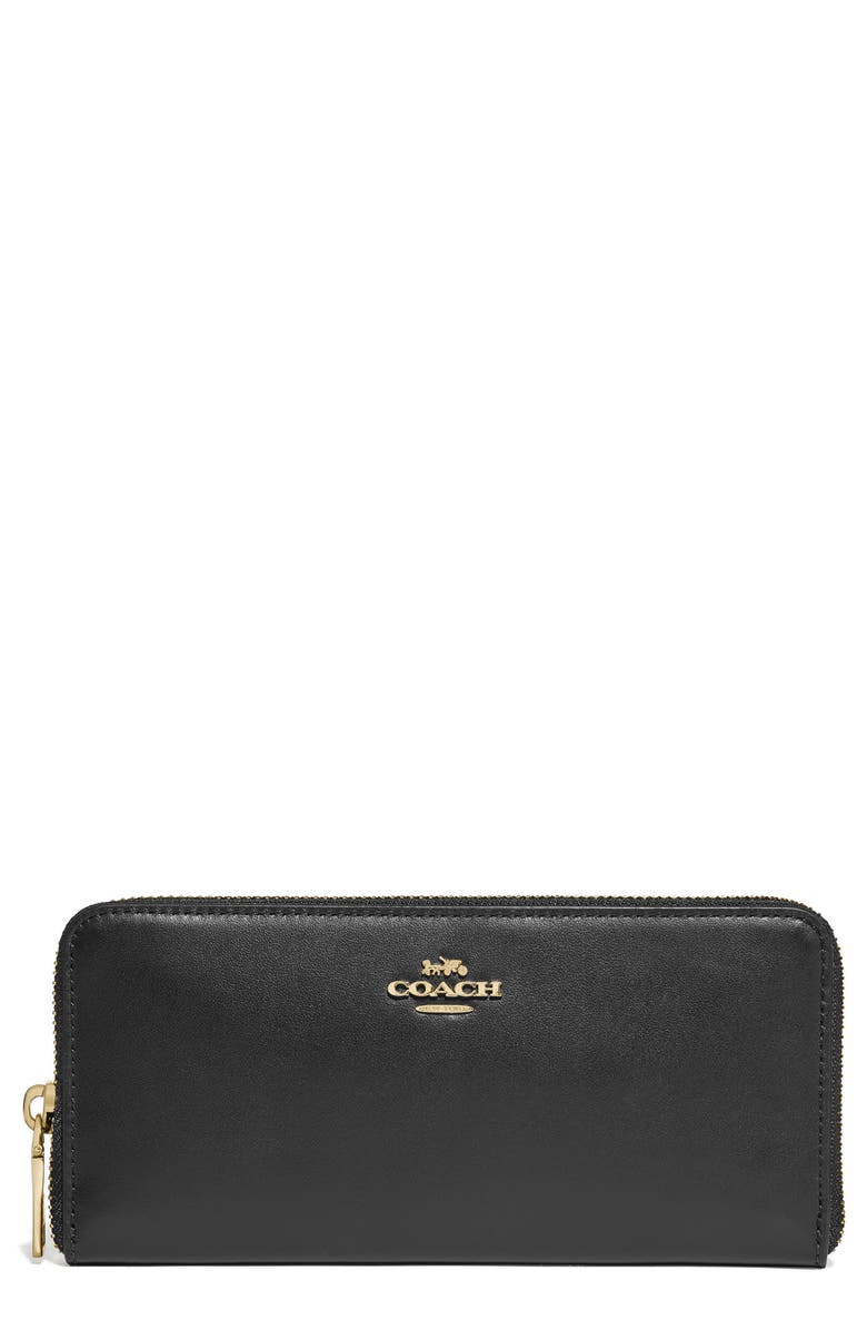 COACH Slim Leather Zip Wallet, Main, color, BLACK