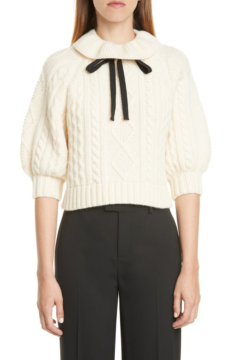 RED VALENTINO Ribbon Tie Cable Knit Wool Sweater, Main, color, 900