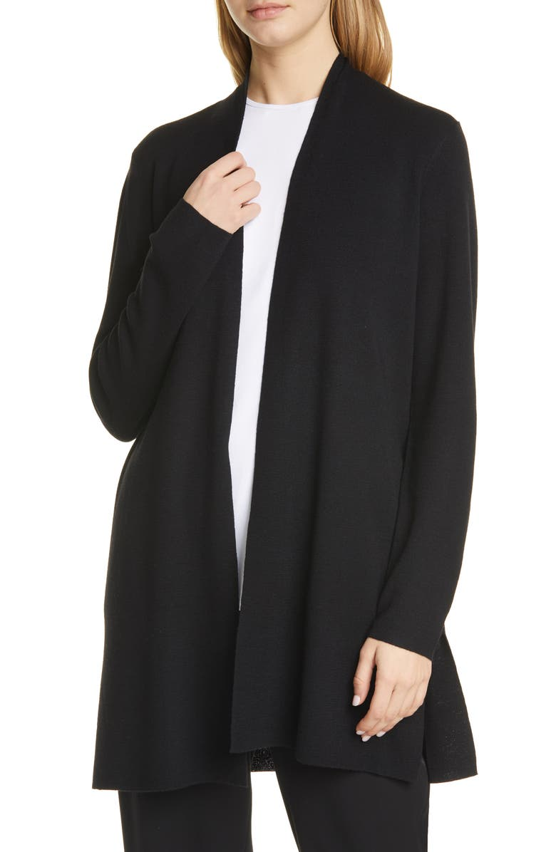 EILEEN FISHER Merino Straight Long Cardigan, Main, color, BLACK