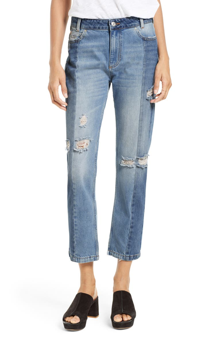 FREE PEOPLE The Patchwork High Waist Crop Jeans, Main, color, 400