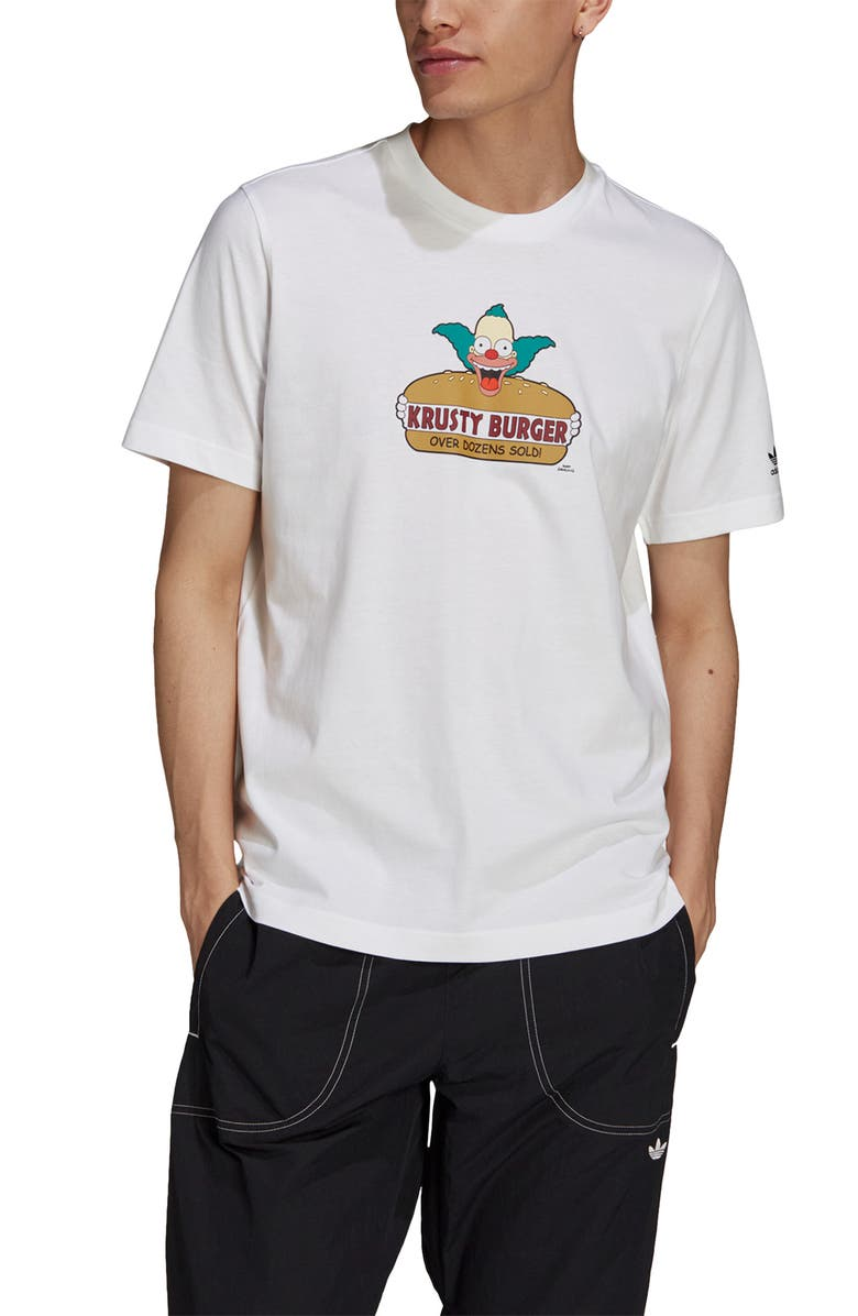 ADIDAS x The Simpsons Krusty Burger Graphic Tee, Main, color, WHITE