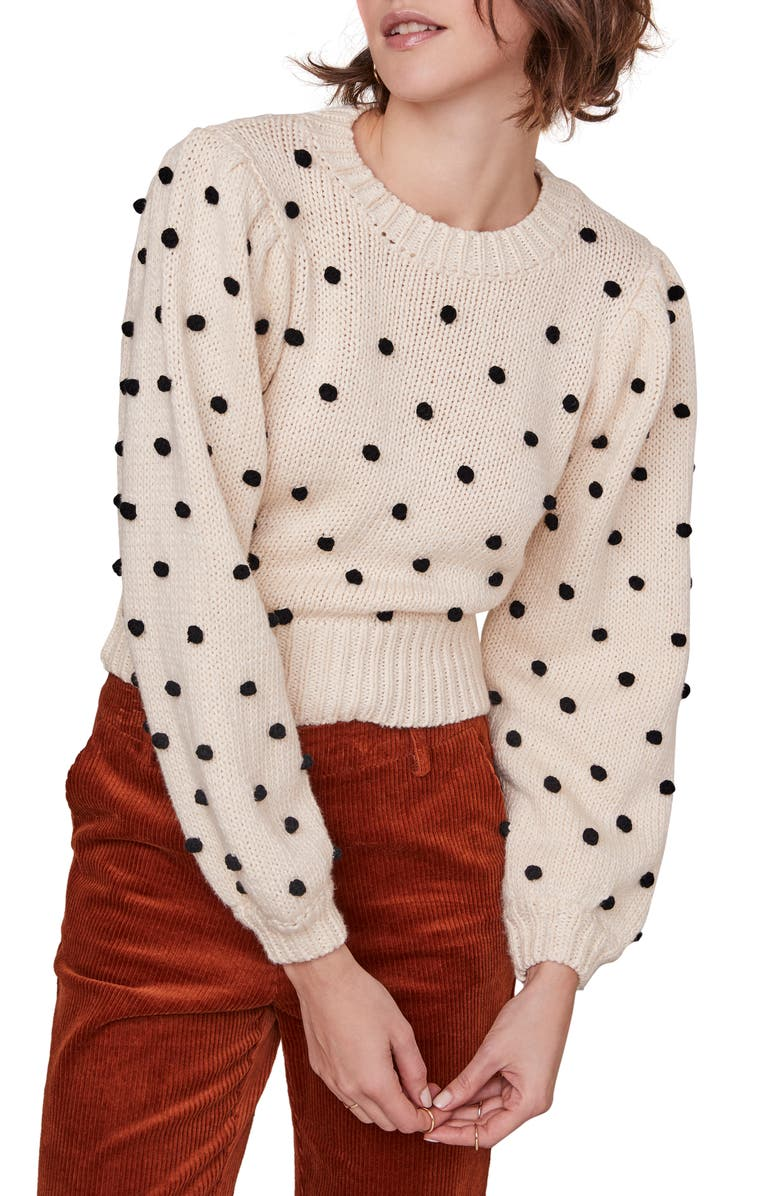 ASTR THE LABEL Aidy Pompom Dot Sweater, Main, color, 900