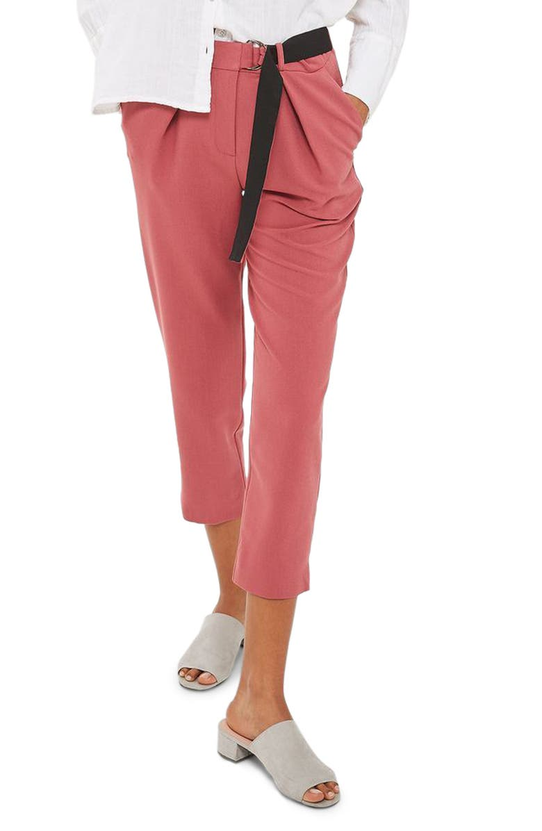 TOPSHOP Belted Peg Trousers, Main, color, RASPBERRY