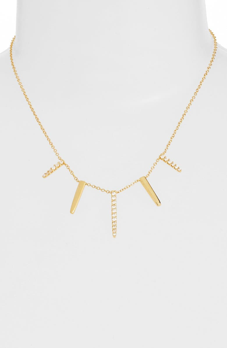 CZ BY KENNETH JAY LANE Pavé Spike Cubic Zirconia Frontal Necklace, Main, color, Gold