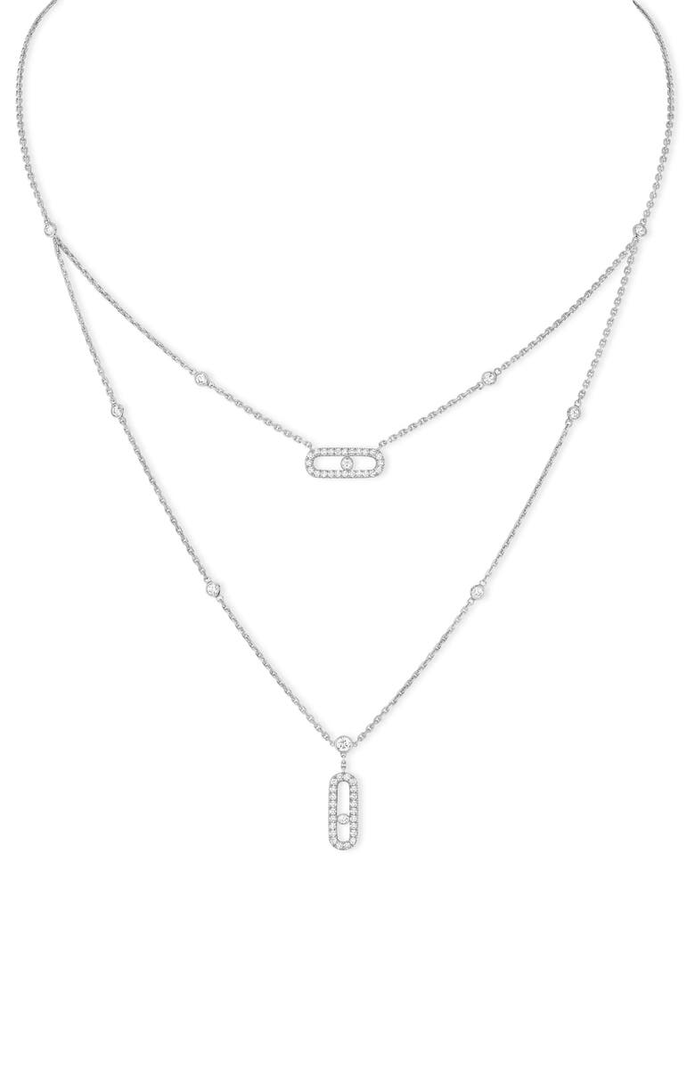MESSIKA Lucky Move Pavé Diamond Layered Pendant Necklace, Main, color, WHITE GOLD/ DIAMOND