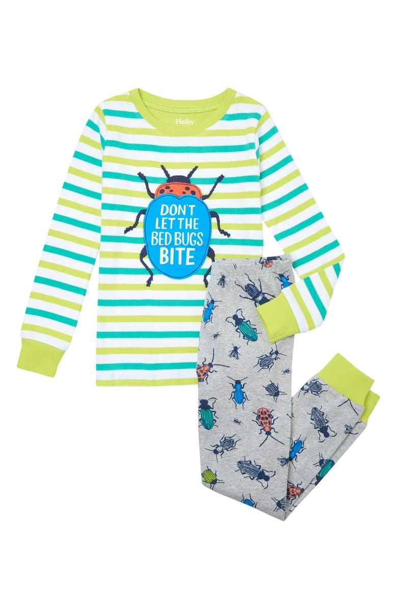 HATLEY Kids' Curious Critters Appliqué Organic Cotton Fitted Two-Piece Pajamas, Main, color, Grey