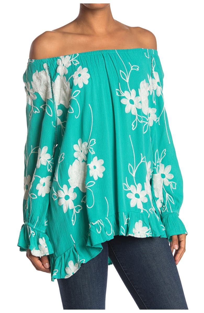 FORGOTTEN GRACE Embroidered Floral Print Off-the-Shoulder Blouse, Main, color, 330