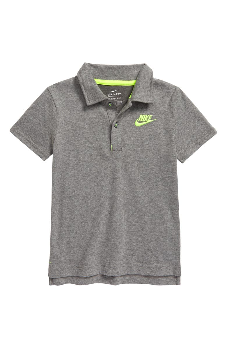 NIKE Kids' Dri-FIT Polo, Main, color, GEH- CARBON HEATHER
