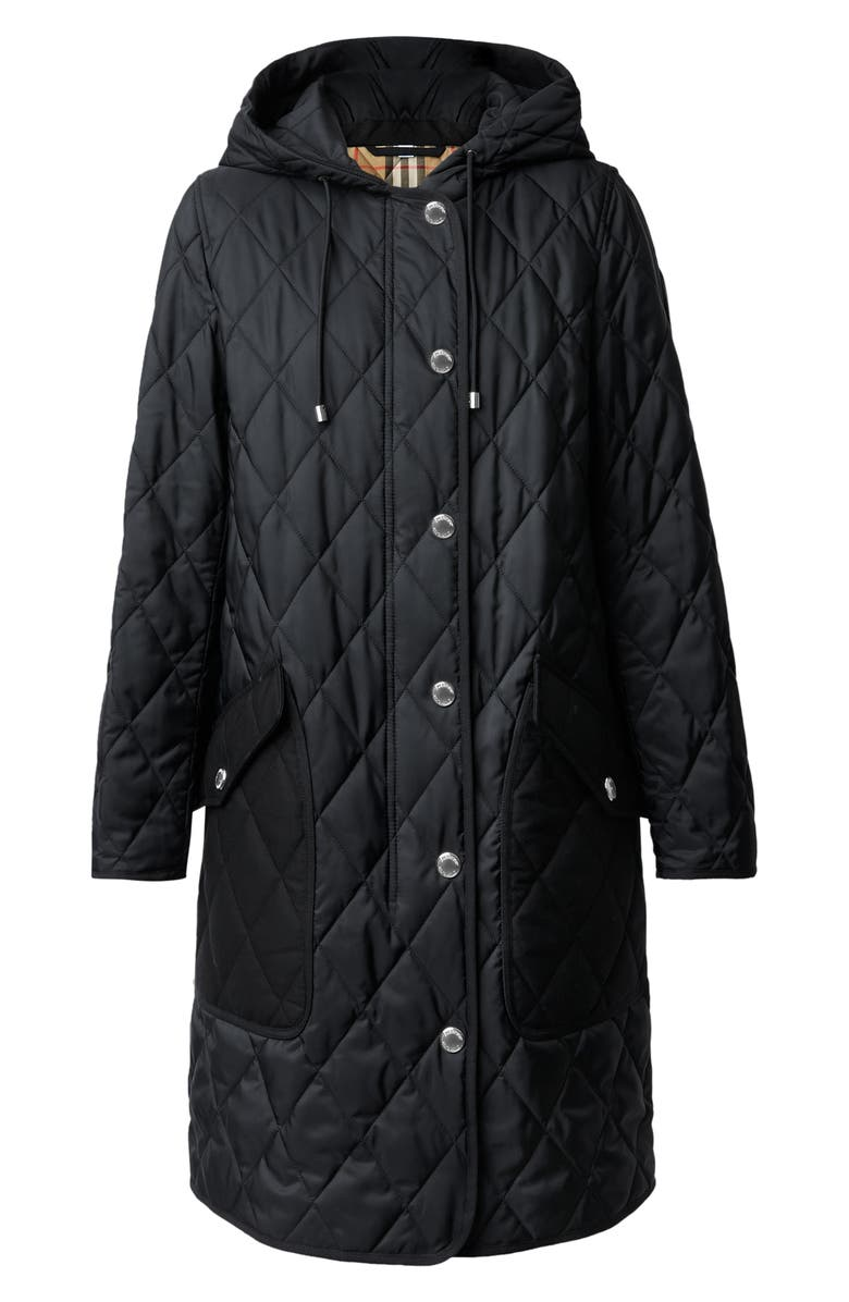 BURBERRY Roxby Thermoregulated Quilted Coat, Main, color, BLACK