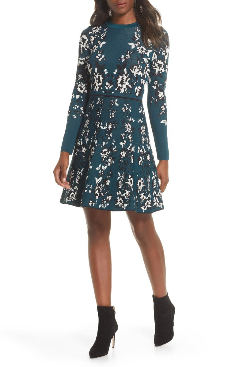 ELIZA J Floral Long Sleeve Fit & Flare Sweater Dress, Main, color, 310