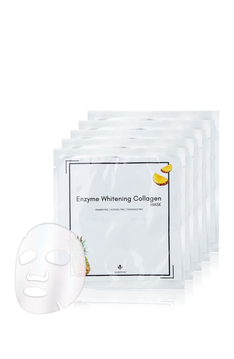 MARTINNI Enzyme Whitening collagen Mask - Pack of 5, Main, color, NO COLOR