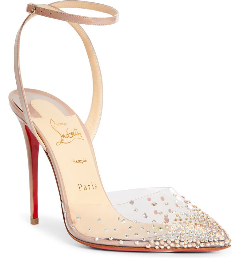 CHRISTIAN LOUBOUTIN Spikaqueen Crystal Pump, Main, color, NUDE/ SILVER