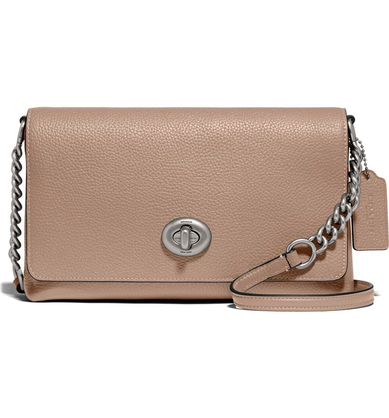 COACH Crosstown X Leather Crossbody Bag, Main, color, LIGHT NICKEL/ TAUPE
