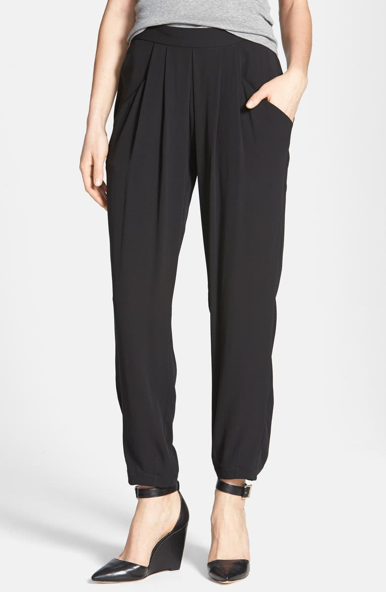 EILEEN FISHER Silk Ankle Pants, Main, color, 001