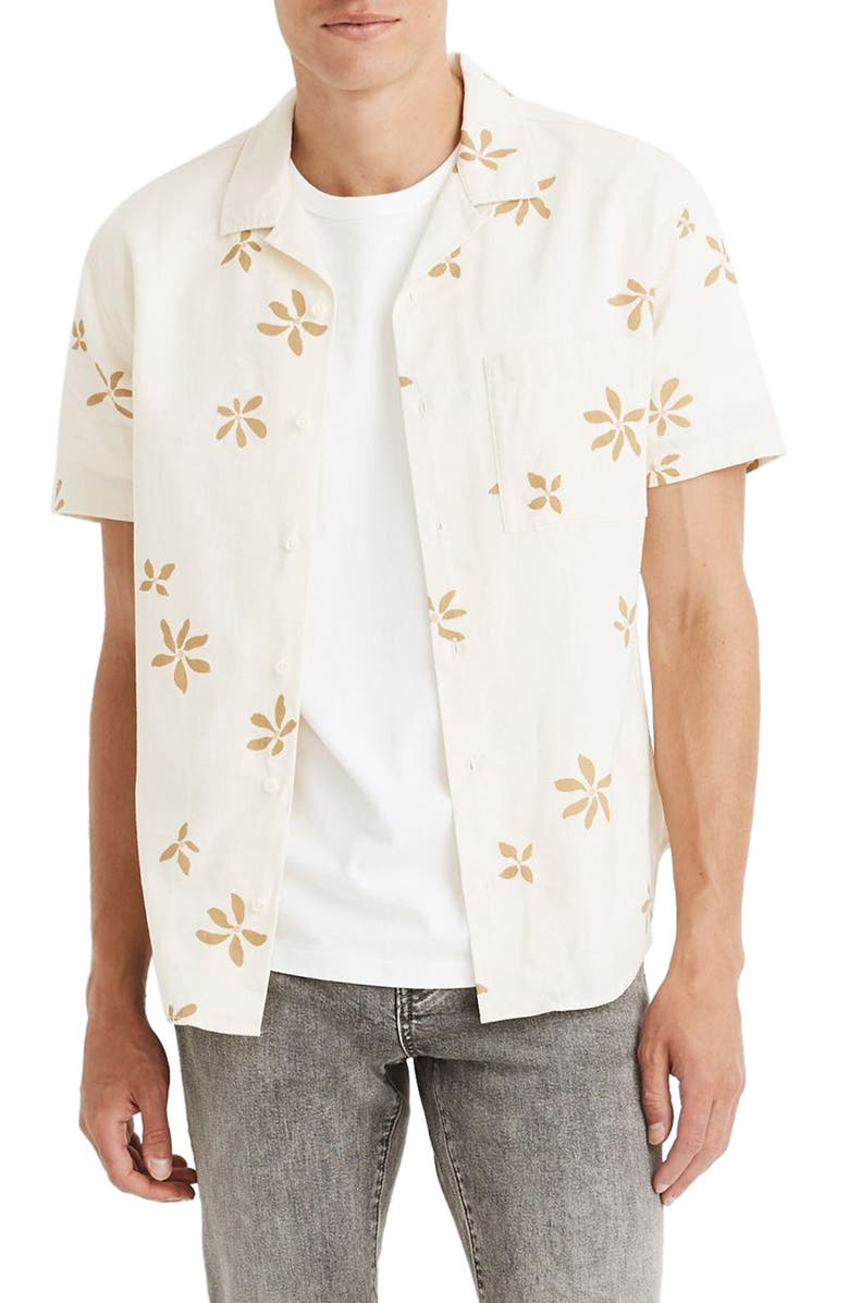 MADEWELL Easy Slim Fit Floral Short Sleeve Camp Shirt, Main, color, FLOAT FLOWERS OLIVE SURPLUS