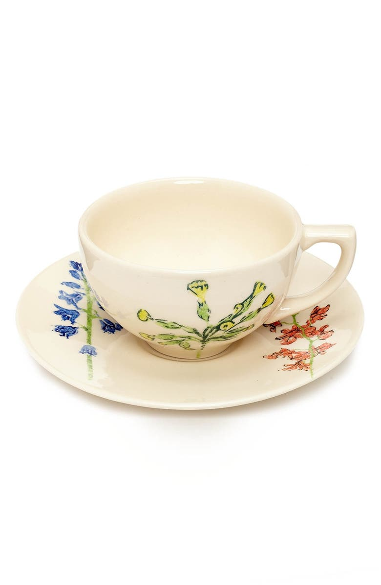 FLOWERS OF LIBERTY Floral Stenciled Ceramic Cup & Saucer, Main, color, 110