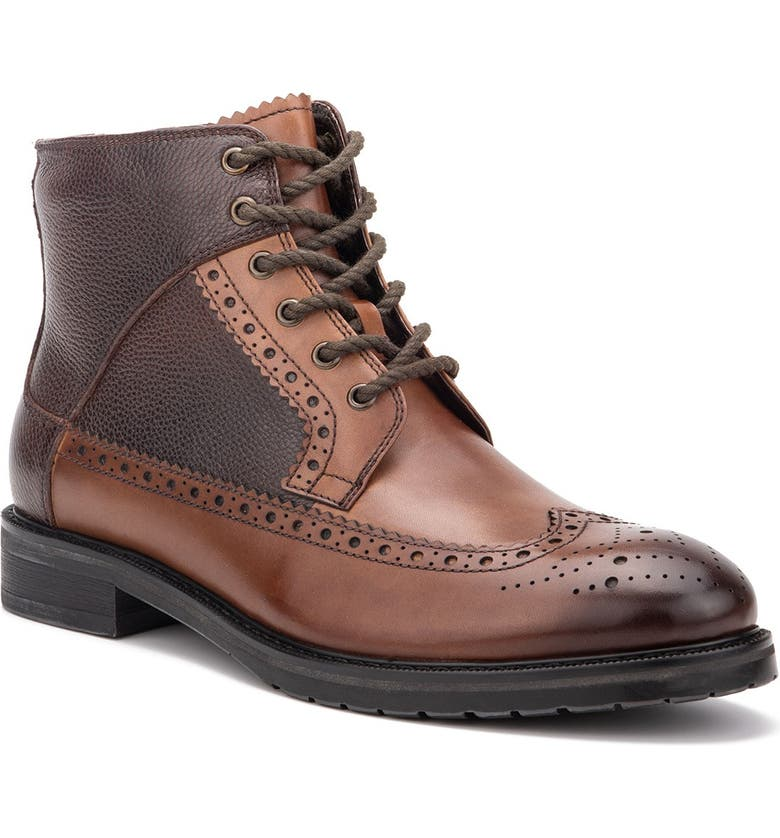 VINTAGE FOUNDRY Digiorno Wingtip Leather Lace-Up Boot, Main, color, TAN