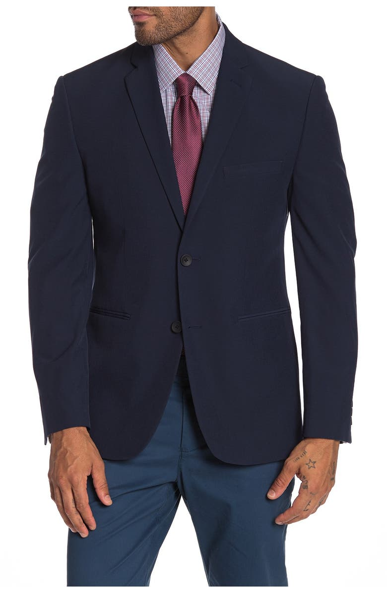 PERRY ELLIS Navy Solid Two Button Notch Lapel Performance Tech Very Slim Fit Suit Separates Jacket, Main, color, BLUE SOLID