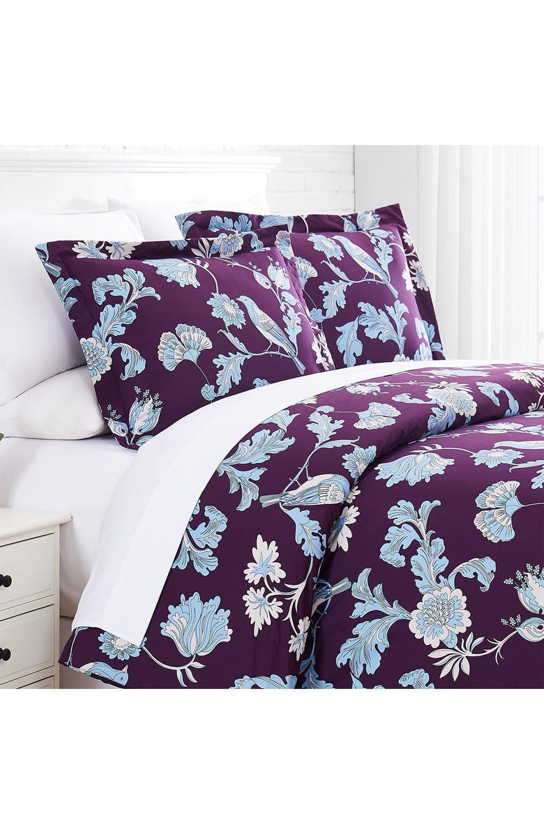 SOUTHSHORE FINE LINENS Premium Collection Oversized Duvet Cover 3-Piece Set - King/California King, Main, color, EARLY SPRING PURPLE