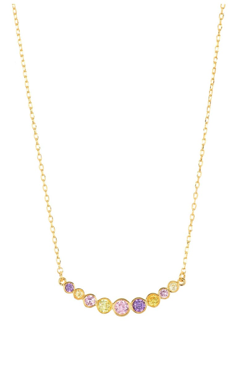 KATE SPADE NEW YORK multicolor cz curved bar necklace, Main, color, MULTI
