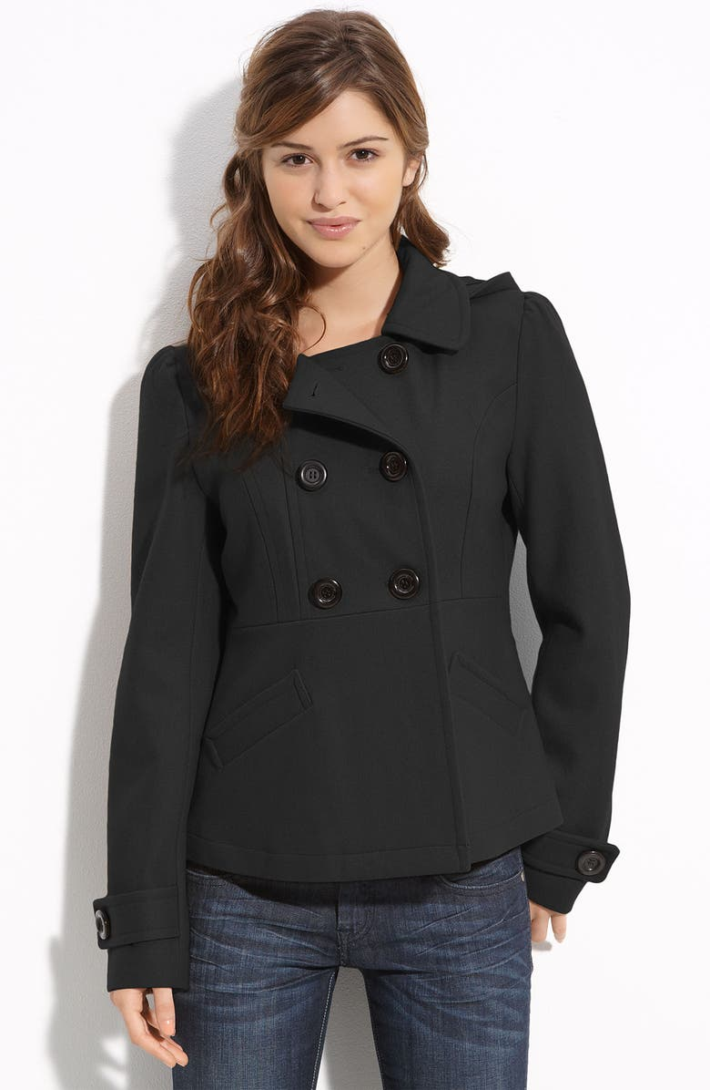 TULLE 'Kate' Double Breasted Peacoat, Main, color, Black