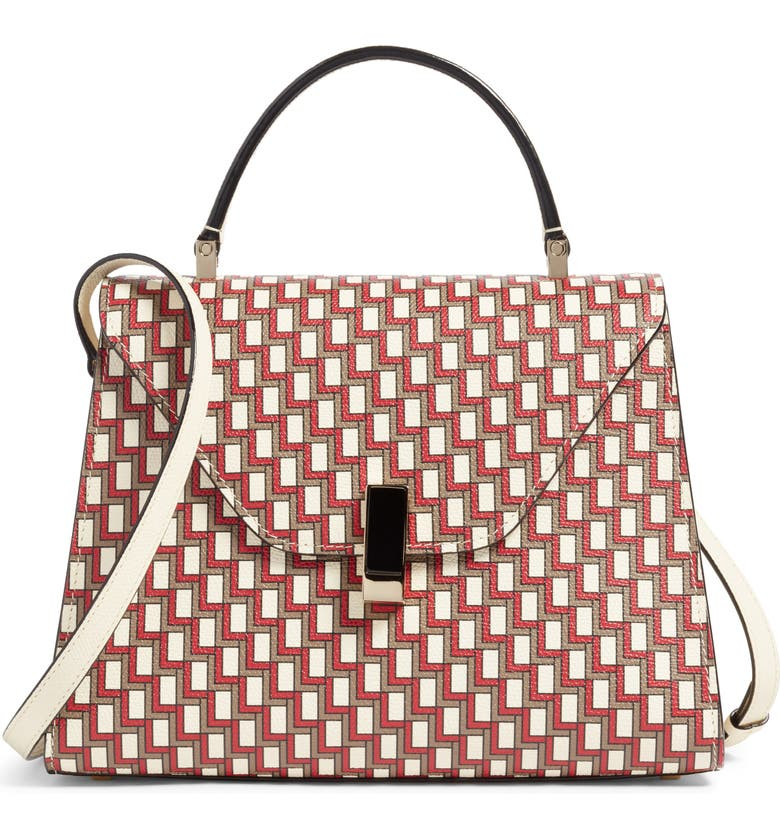 VALEXTRA Iside Monogram Leather Top Handle Bag, Main, color, 605