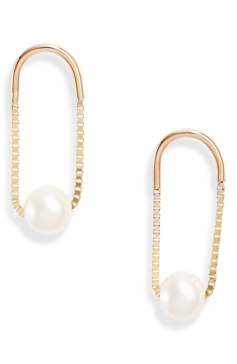 POPPY FINCH Crescent Pearl Drop Earrings, Main, color, YELLOW GOLD