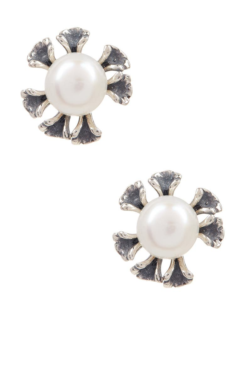SPLENDID PEARLS Sterling Silver Natural White 7.5-8mm Cultured Freshwater Pearl Earrings, Main, color, NATURAL WHITE