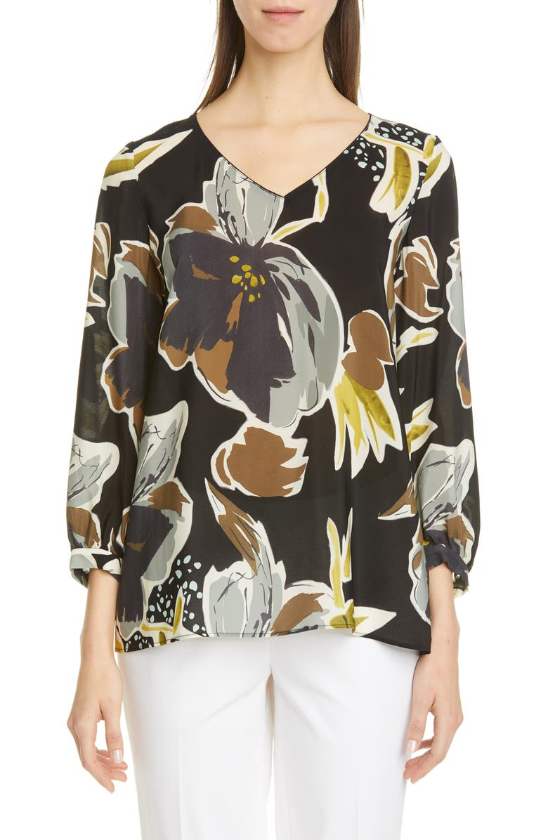 LAFAYETTE 148 NEW YORK Arnette Floral Silk Blouse, Main, color, 001