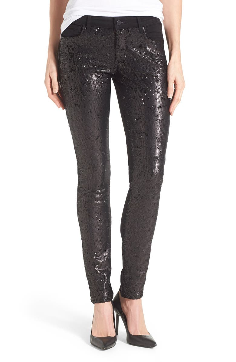 CJ BY COOKIE JOHNSON 'Peace' Sequin Front Skinny Jeans, Main, color, BLACK