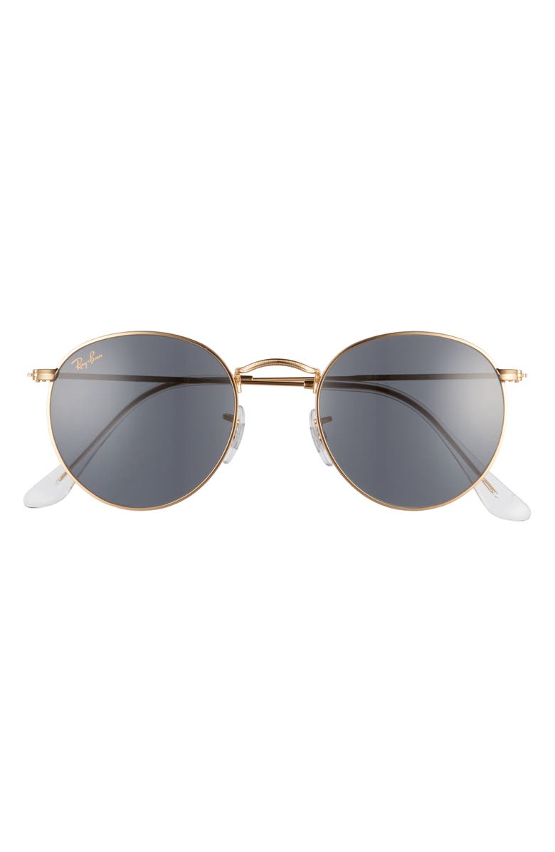 RAY-BAN Icons 50mm Round Metal Sunglasses, Main, color, LEGEND GOLD/ BLUE