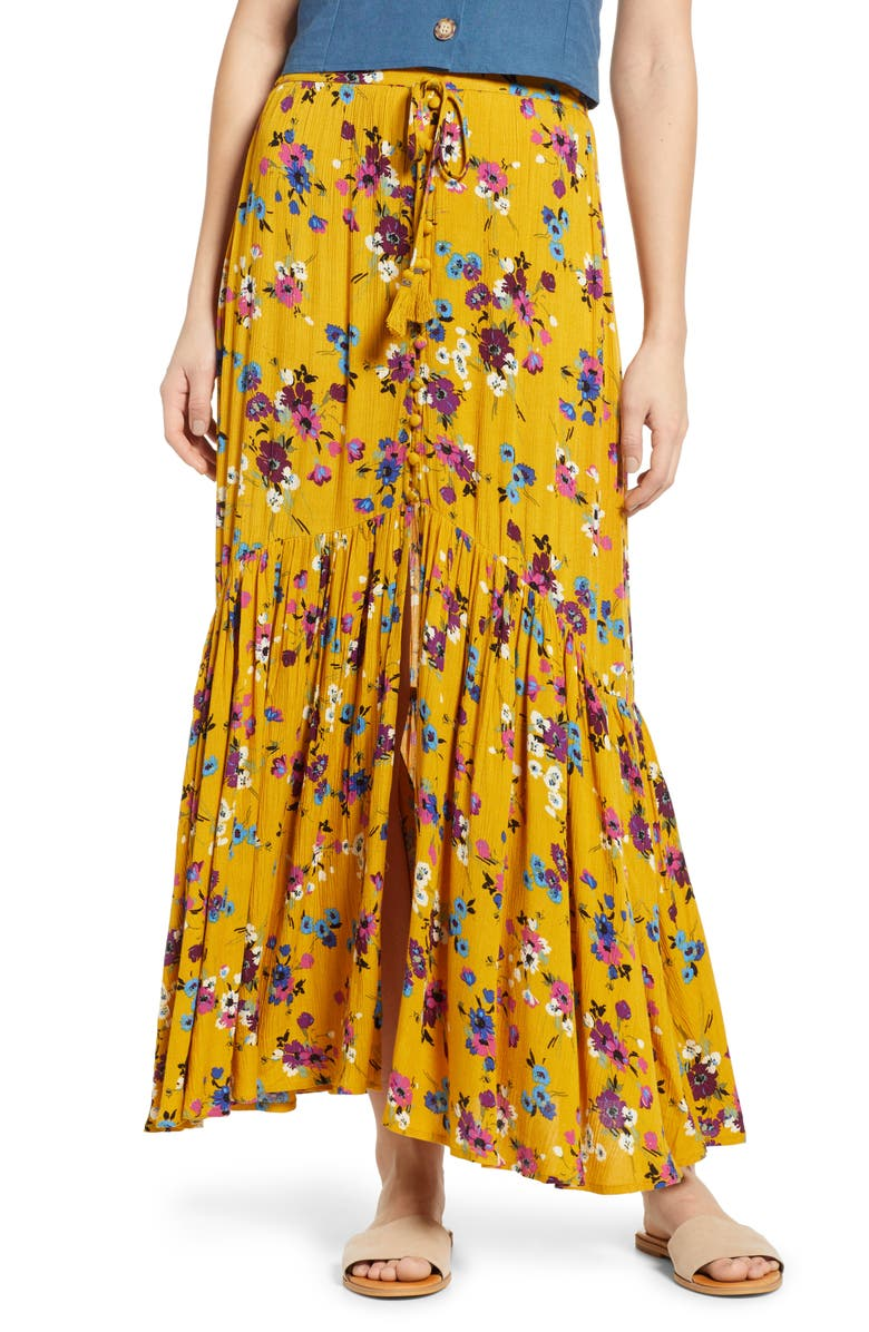 BAND OF GYPSIES Marseille Button Front Maxi Skirt, Main, color, 700
