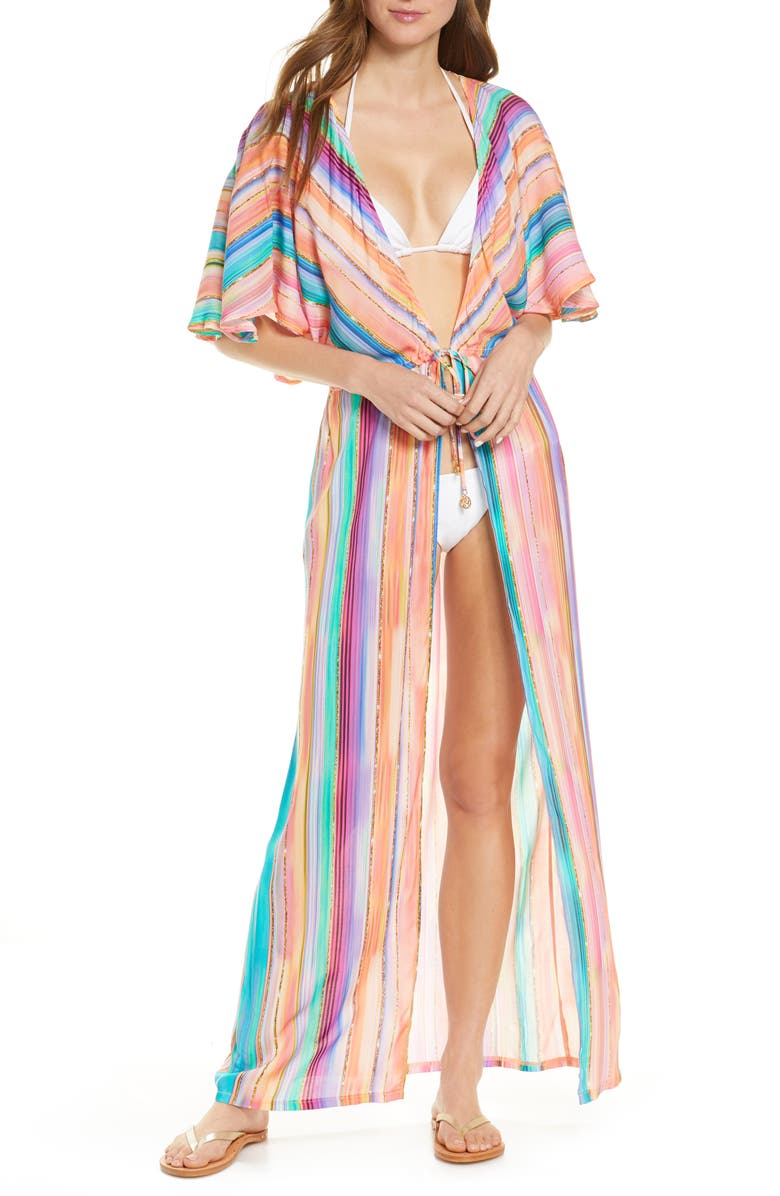 LULI FAMA Heat Waves Cover-Up Wrap, Main, color, CORAL MULTI