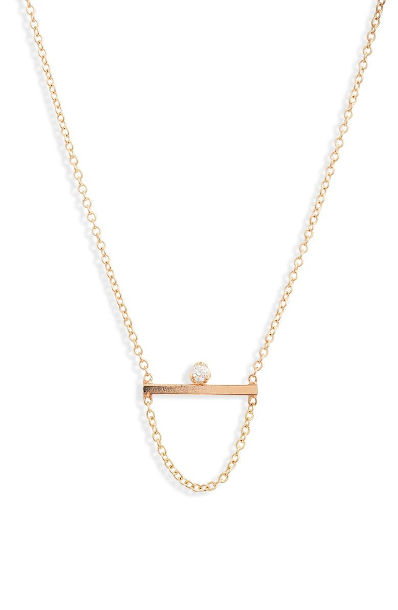 ZOË CHICCO Straight Bar Necklace, Main, color, YELLOW GOLD/ DIAMOND