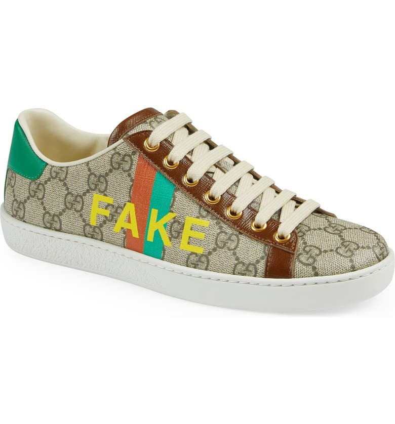 GUCCI Ace Fake/Not GG Supreme Sneaker, Main, color, BROWN