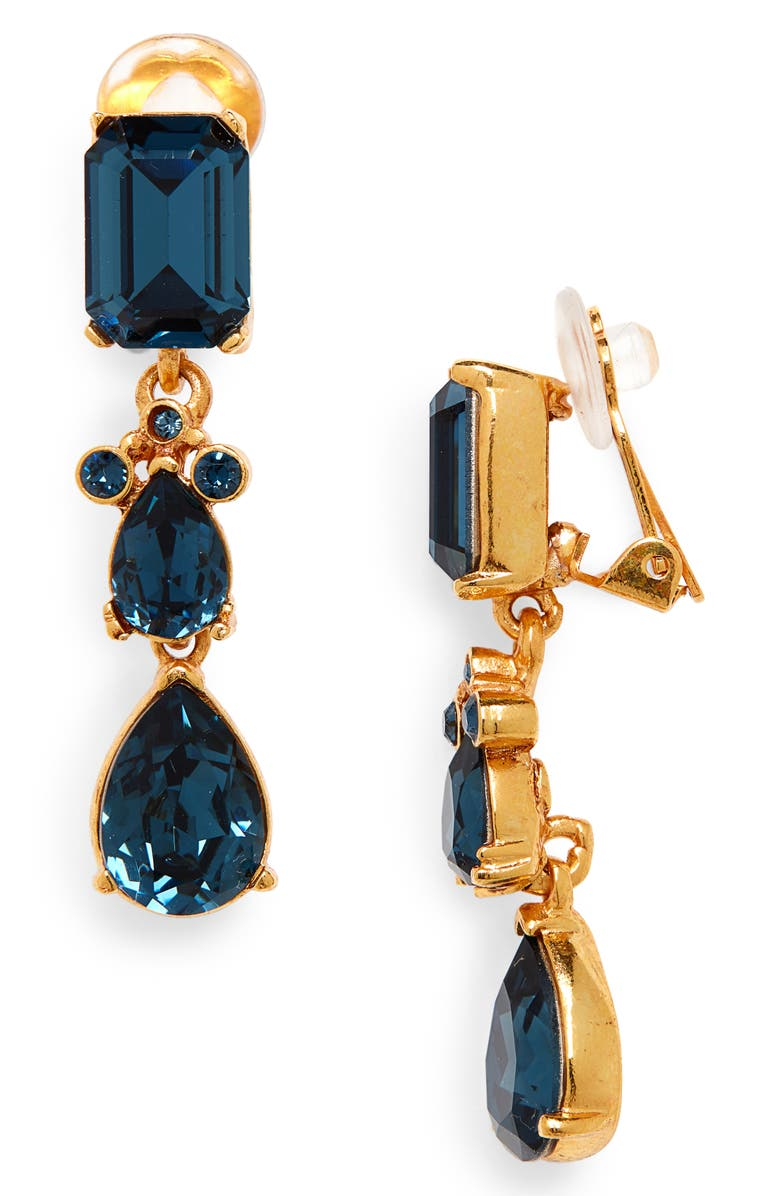 OSCAR DE LA RENTA Small Classic Crystal Drop Earrings, Main, color, MONTANA