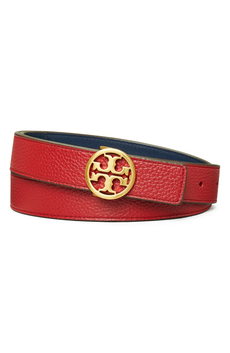 TORY BURCH Reversible Leather Belt, Main, color, REDSTONE / ROYAL NAVY / GOLD