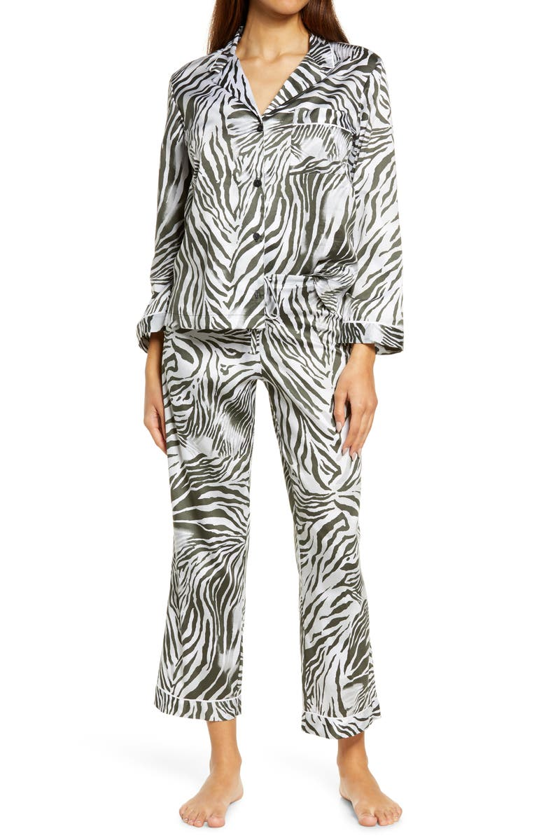 NATORI Zebra Sateen Pajamas, Main, color, BLACK