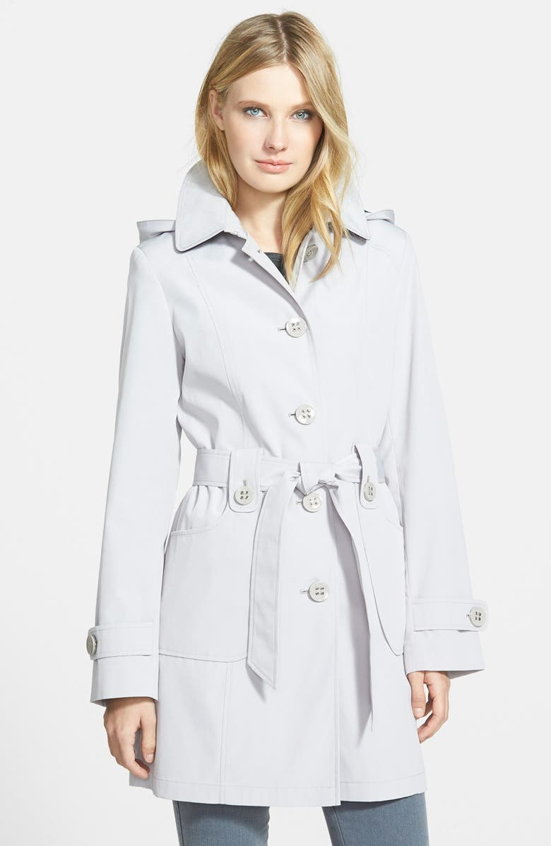 GALLERY Polka Dot Trim Single Breasted Trench Coat, Main, color, WHISPER