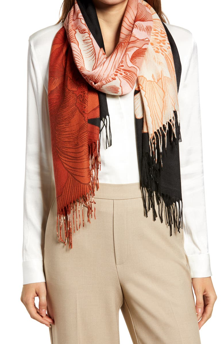NORDSTROM Tissue Print Wool & Cashmere Wrap Scarf, Main, color, PINK POPPIES